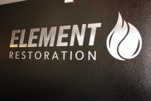 Element Restoration Logo in the Office Lobby